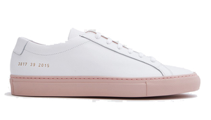 Common Projects Achilles Low Sneaker in White and Blush (Originally $423) Sale Shoes