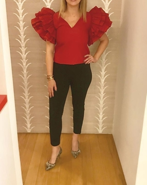 Isabel Marant Rosie Assoulin The Row Red Ruffle Sleeve Blouse Pants Sale Shoes Tops