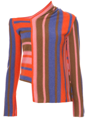 Peter Pilotto Long Sleeve Asymmetrical Woven Striped Sweater (Originally $1,265) Sale