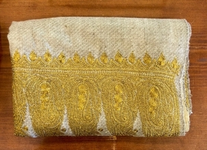 Yaser Shaw Gold Embroidered Scarf Accessories