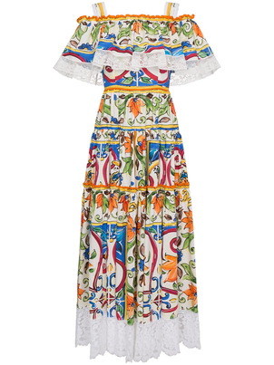 Dolce & Gabbana Majolica Printed Dress with Lace Trimming Dresses