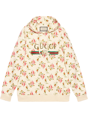 Gucci Rose Printed Hooded Sweatshirt Activewear Outerwear Tops