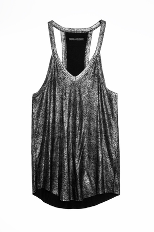 Zadig & Voltaire Chelsea Lame Tank - Silver (Originally $138) Tops