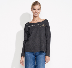 Sundry More Sunday Less Monday Raw Edge Pullover Tops