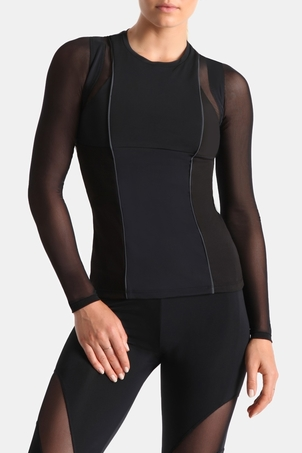 Cushnie et Ochs Veda Long Sleeve Mesh Top Tops