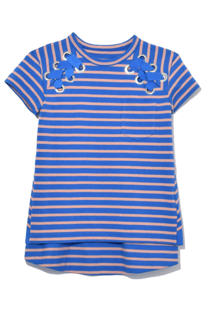 Sacai Dixie Stripe Top in Blue/Pink Tops