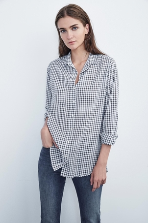 Velvet Rufina Cotton Check Button Up Tops