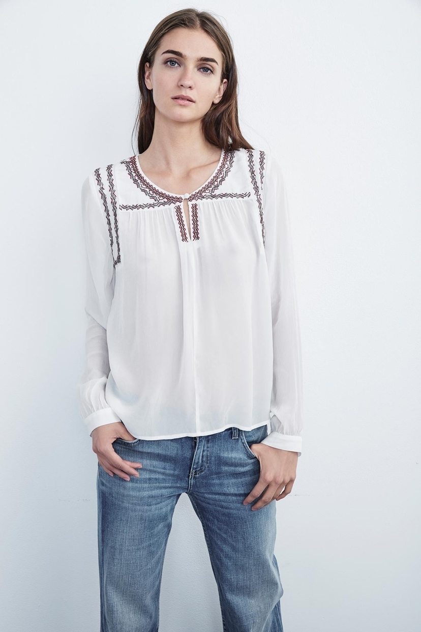 Velvet Julia Embroidered Peasant Blouse Tops