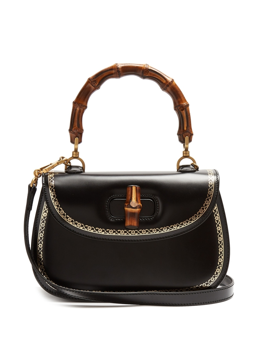 Gucci Black Classic Bamboo Top Handle Bag Bags