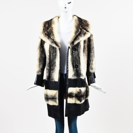 Silverman Furs Black Cream Brown Leather Striped Fitch Fur Trim Long Sleeve Coat
