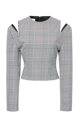 Monse Glen Plaid Shoulder Zip Top Tops