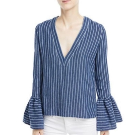 Bell Sleeve Striped Linen Top