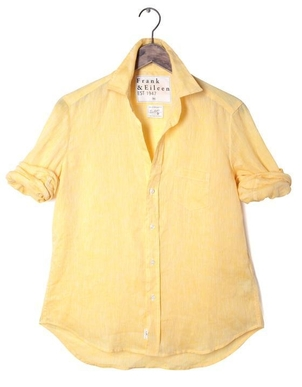 Frank & Eileen Eileen Solid Yellow Linen Top Tops