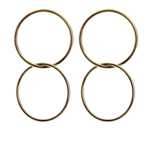 Eklexic Double Interlinking Circle Drop Earrings Jewelry