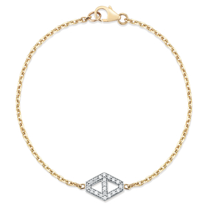 Walters Faith Keynes 18K Two Tone Small Signature Hexagon Diamond Element Bracelet Jewelry