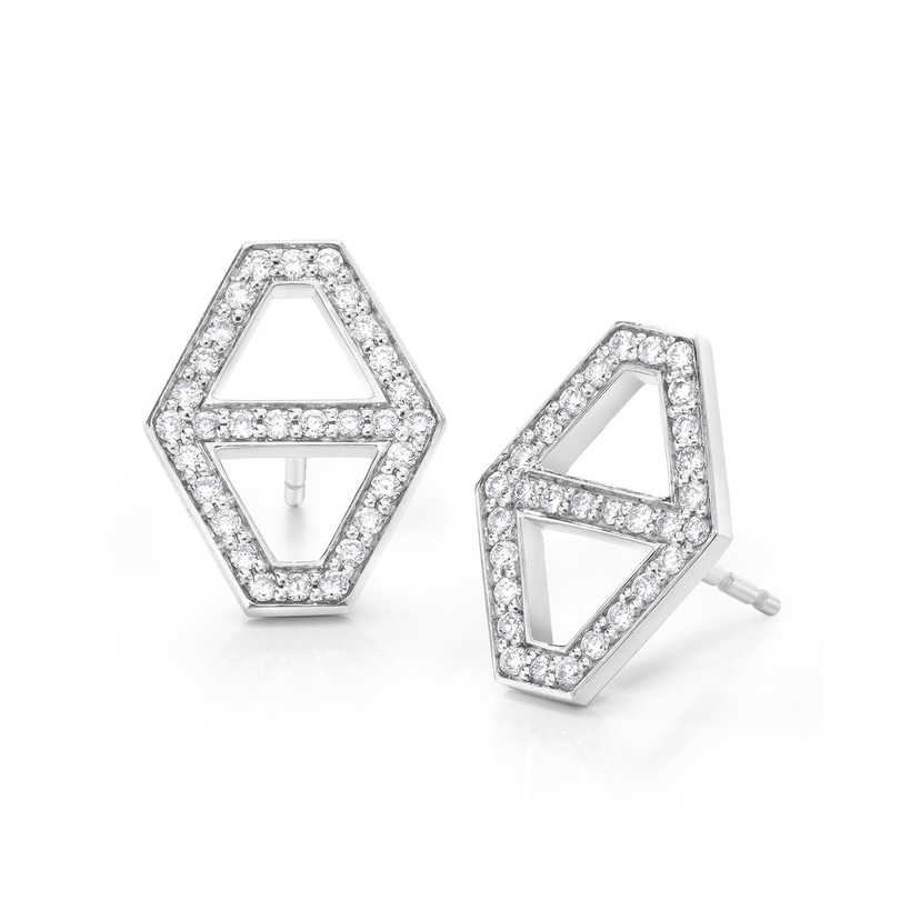Walters Faith Keynes 18K Medium Signature Hexagon Diamond Stud Earrings Jewelry
