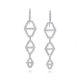 Walters Faith Keynes 18K Three Drop Diamond Hexagon Earrings Jewelry