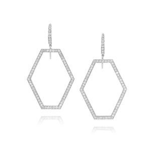 Walters Faith Keynes 18K Small Diamond Signature Hexagon Motif Earrings Jewelry