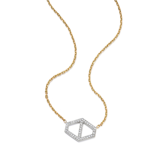 Walters Faith Keynes 18K Large Diamond Signature Hexagon Pendant Necklace Jewelry