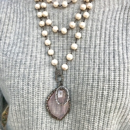 Diamond Edged Pink Stone Pendant & Pearl Chain