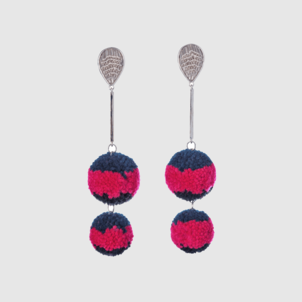 Mignonne Gavigan Doris Pom Pom Earrings Navy/Hot Pink (originally $200.00) Jewelry Sale