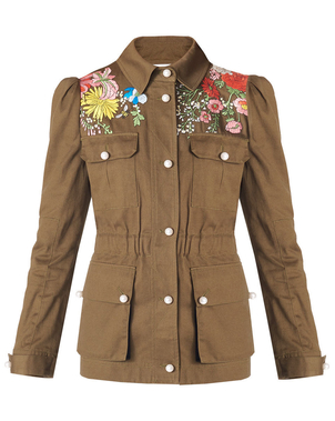 Veronica Beard Huxley Safari Jacket in Army Outerwear