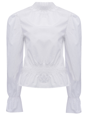 FRAME Frame Denim Smocked Cotton Poplin Blouse in White Tops