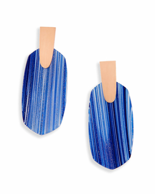 Kendra Scott Aragon Statement Earrings In Navy Dusted Glass Jewerly