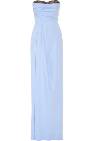 Marchesa Bead Trim Strapless Gown - Powder Blue Dresses