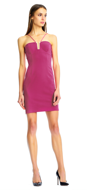 Aidan Mattox Scuba Cocktail Dress - Bright Pink Dresses
