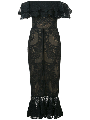 Marchesa Off Shoulder Dress - Black Dresses