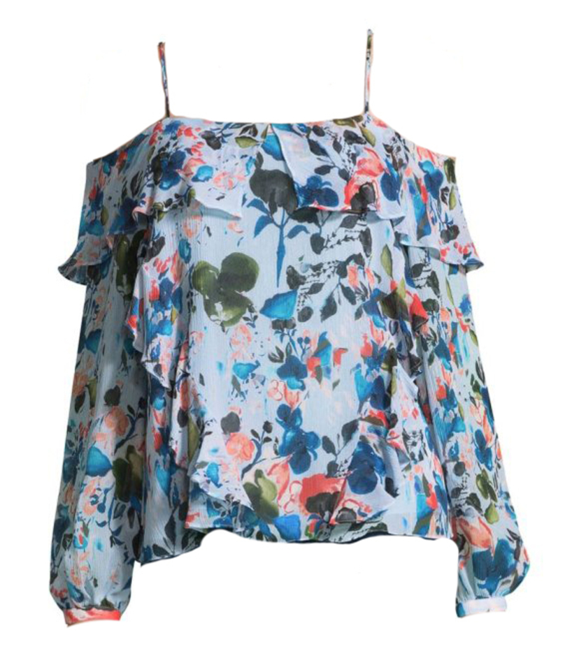 Tanya Taylor Cold-Shoulder Daisy Top Tops