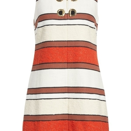 Shift Dress with Grommet in Striped Poppy (Originally $550)