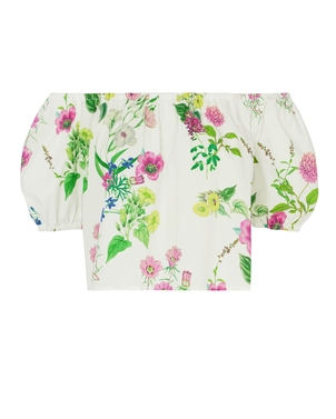 MDS Stripes Cropped Floral Peasant Top Tops