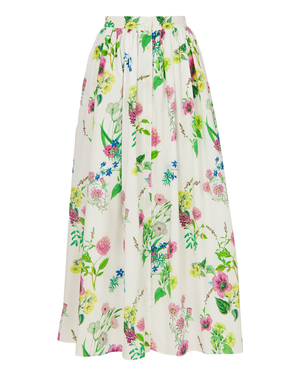 MDS Stripes Button Front Floral Skirt Skirts