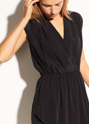 Vince Draped Cross Front Silk Dress Dresses