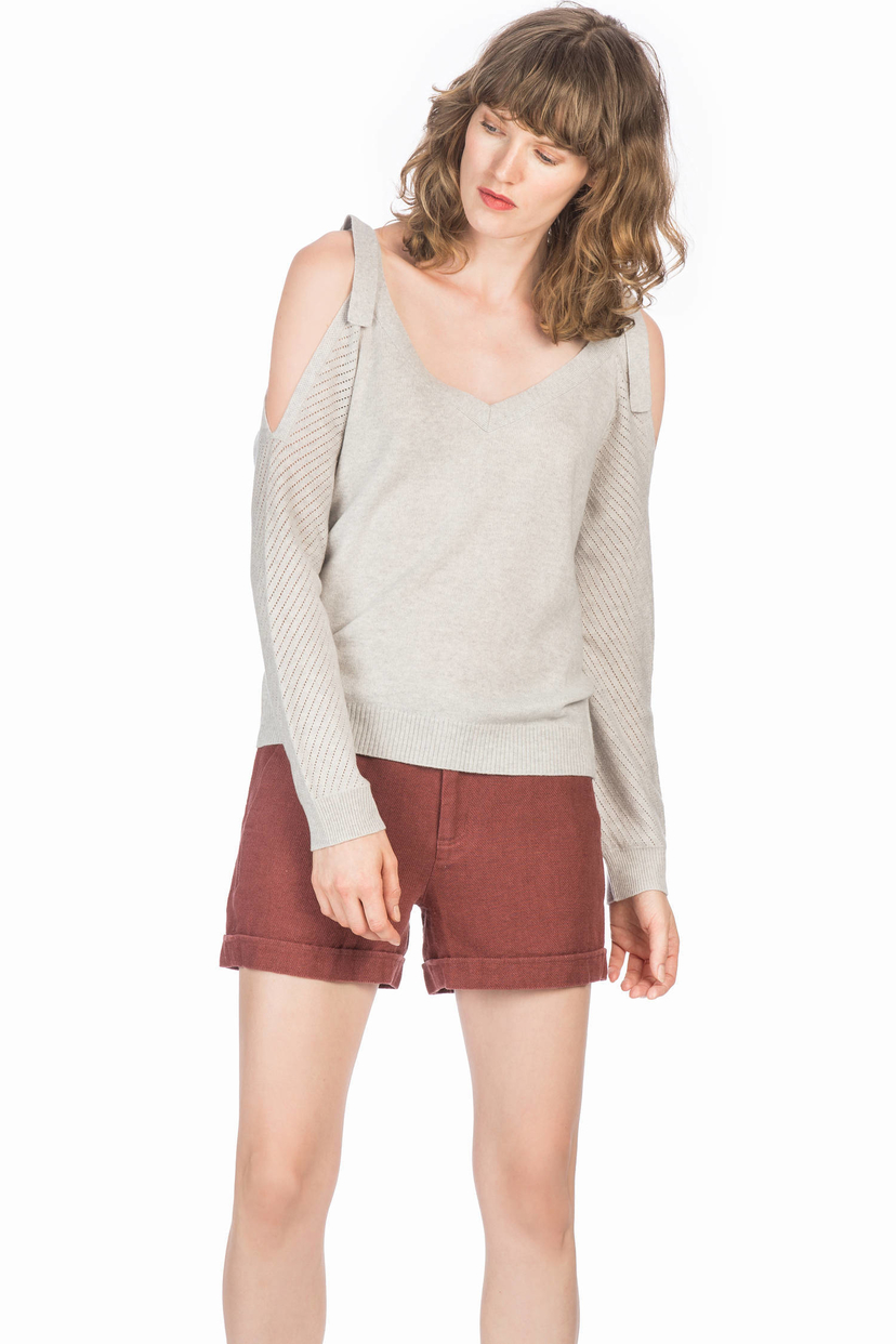 Leo & Sage Tie Shoulder Sweater Tops
