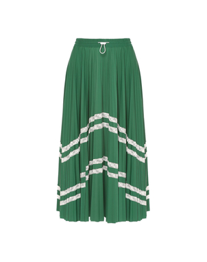 Valentino Green Plisse Skirt with White Lace Skirts