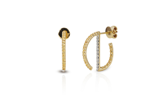 Kavant & Sharart Geo Art Mini Hoop Earring - Yellow Sapphire & Diamond Jewelry