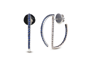 Kavant & Sharart Art Geo Hoop Earrings - Sapphire & Diamond Jewelry