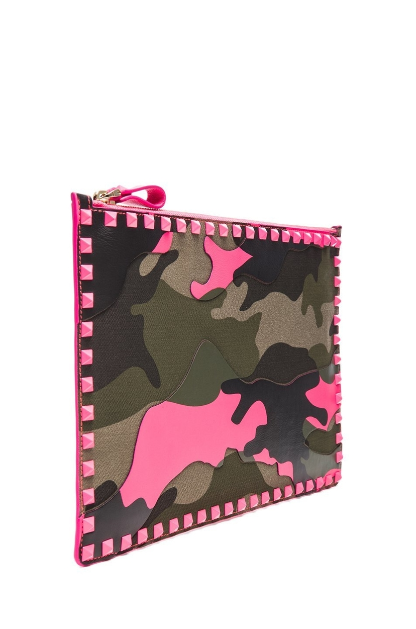 Valentino Valentino Camouflage Pink Clutch Bags