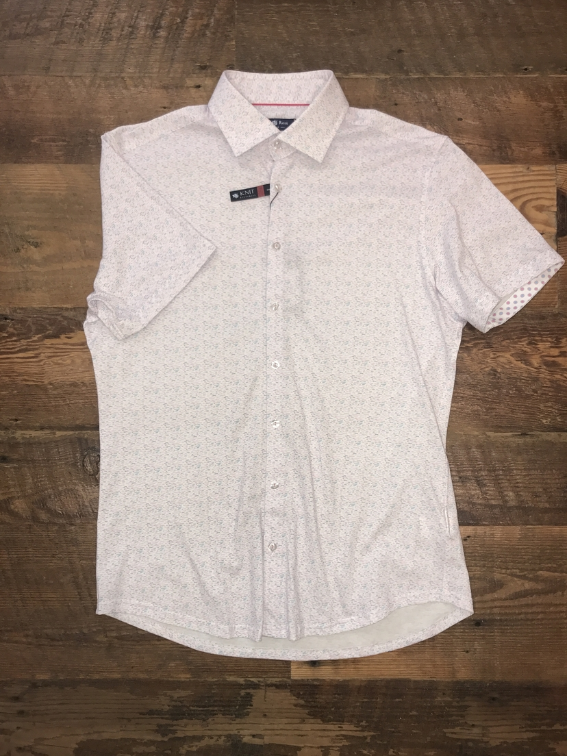Stone Rose Heather Print Short Sleeve Button Down Tops
