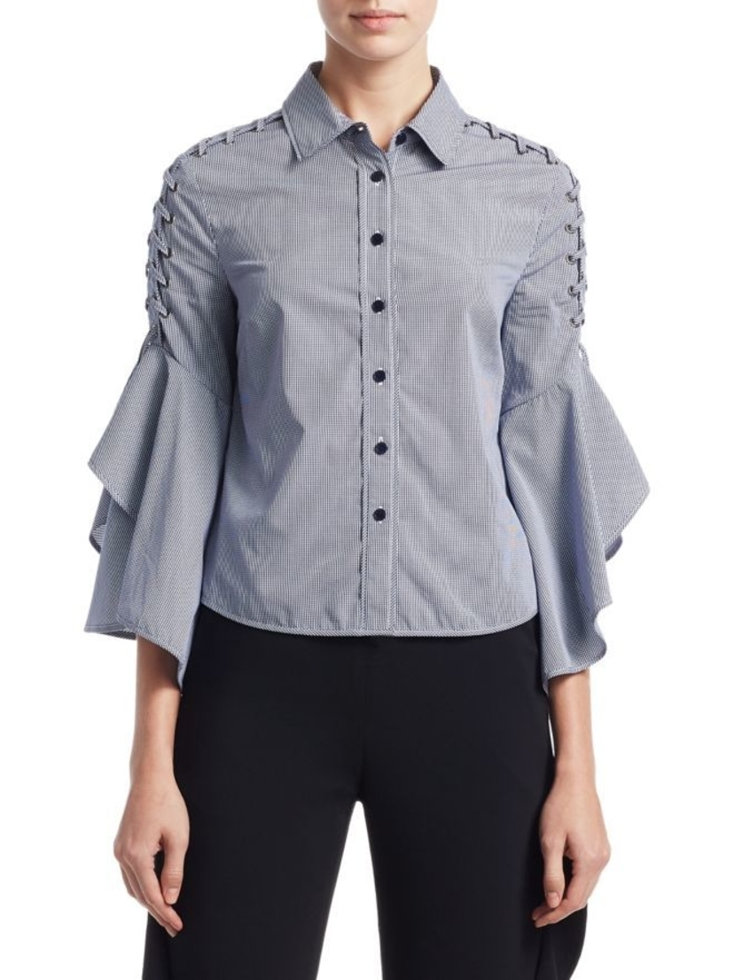 Jonathan Simkhai Whipstitch Bell Sleeve Top Tops