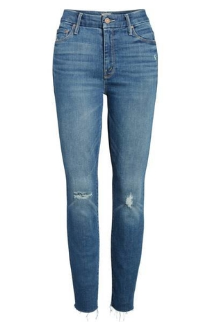Mother High Waisted Looker Ankle Fray, Wild Blue Pants