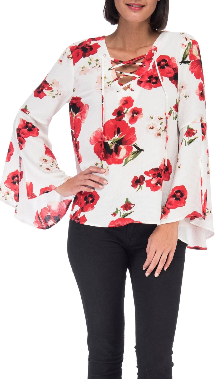 Bobeau Sybil Floral Lace Up Blouse Tops