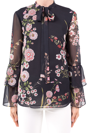 Giambattista Valli Black Floral Blouse Tops