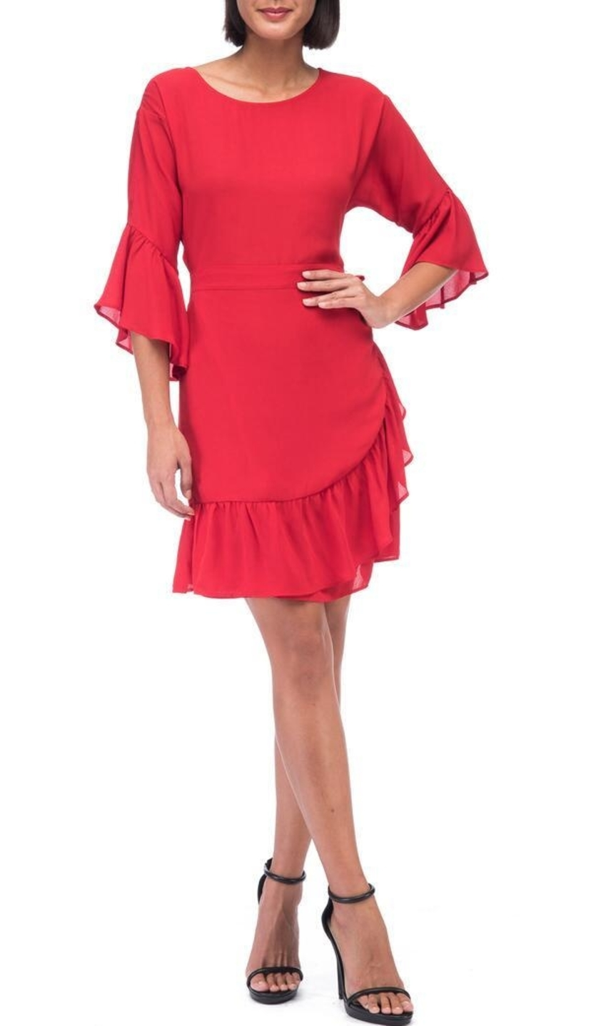 Bobeau Astrid Red Apron Dress Dresses