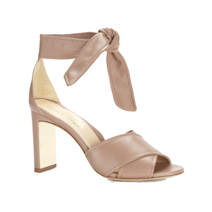 "Marion Parke ""Nappa"" Leather Bow Tie Heel in Blush Shoes"