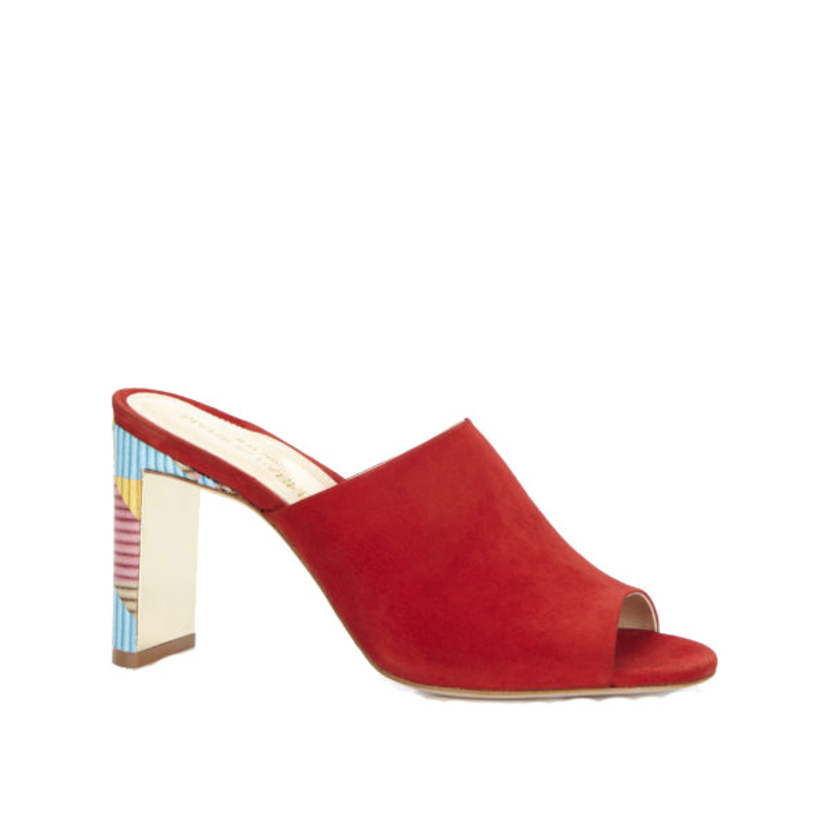 "Marion Parke ""Louisa"" Suede Classic Red Mules Shoes"