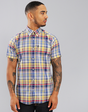 Barbour Yellow Gerald Tailored Fit Plaid Sport Shirt Tops